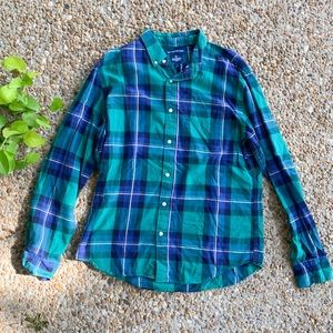 Old Navy Green Slim Plaid Flannel Button Down Top